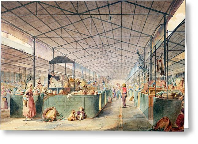 Shopper Greeting Cards - Interior Of Les Halles, 1835 Wc On Paper Greeting Card by Max Berthelin