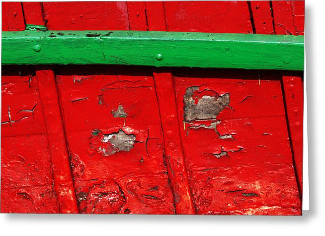 Fraying Greeting Cards - Interior Of Old Boat With Chipped Wood Greeting Card by Mikel Martinez de Osaba