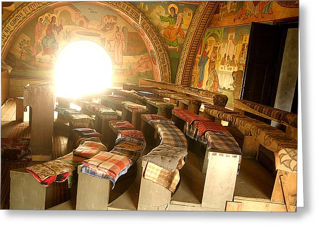 Empty Chairs Greeting Cards - Interior of old orthodox church in Sibiu Romania Greeting Card by Emanuel Tanjala