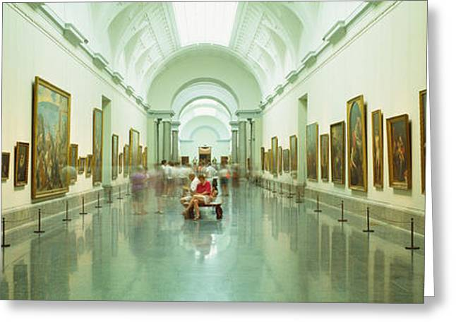 Sculpture Gallery Greeting Cards - Interior Of Prado Museum, Madrid, Spain Greeting Card by Panoramic Images