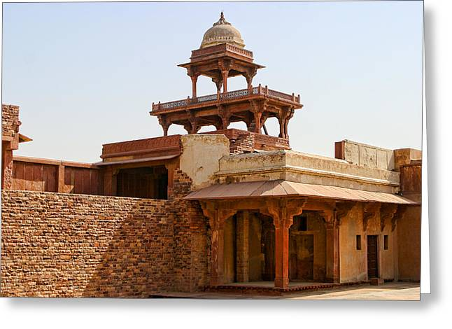 Entrance Door Greeting Cards - Interior of Red Stone Palace in India Greeting Card by Linda Phelps