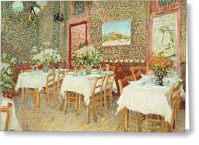 From 1886 Greeting Cards - Interior of restaurant Greeting Card by Vincent van Gogh