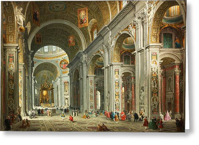 Giovanni Paolo Panini Greeting Cards - Interior of Saint Peters. Rome Greeting Card by Giovanni Paolo Panini