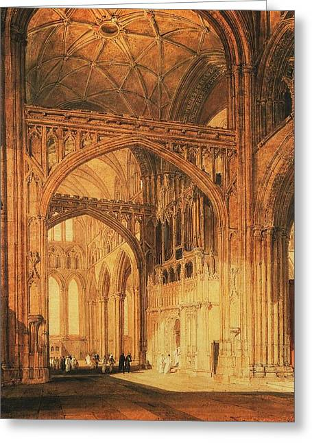 Jmw Greeting Cards - Interior of Salisbury Cathedral 1805 Greeting Card by Joseph Mallord William Turner