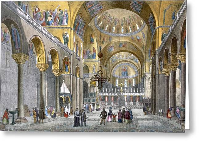 Interior Of San Marco Basilica, Looking Greeting Card by Italian School