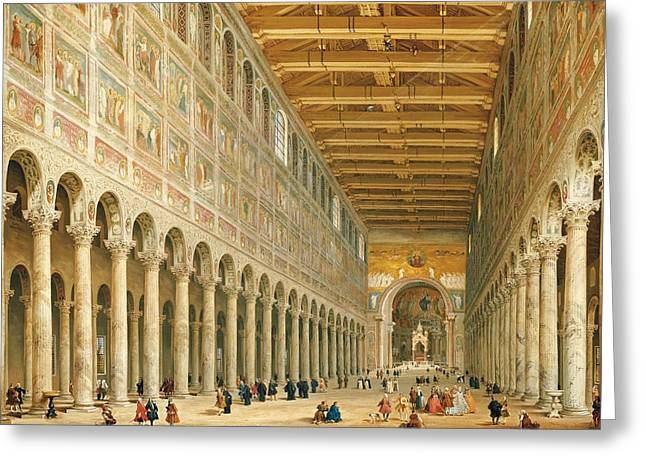 Hall Greeting Cards - Interior of San Paolo Fuori le Mura Greeting Card by Giovanni Paolo Panini
