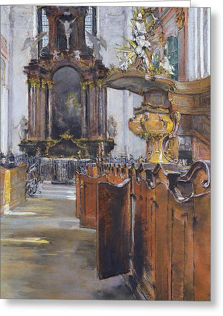 Inside Of Greeting Cards - Interior of St Michaelis in Hamburg Greeting Card by Gotthardt Johann Kuehl