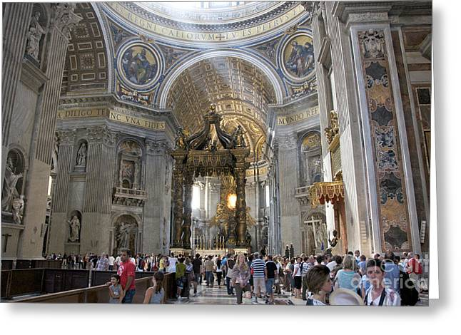 Touristy Greeting Cards - Interior of St Peters Dome. Vatican City. Rome. Lazio. Italy. Europe Greeting Card by Bernard Jaubert