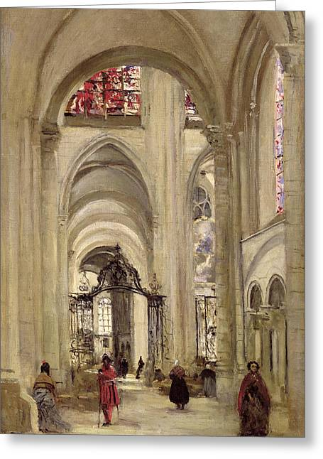 Vaulting Greeting Cards - Interior Of The Cathedral Of St. Etienne, Sens, C.1874 Oil On Canvas Greeting Card by Jean Baptiste Camille Corot