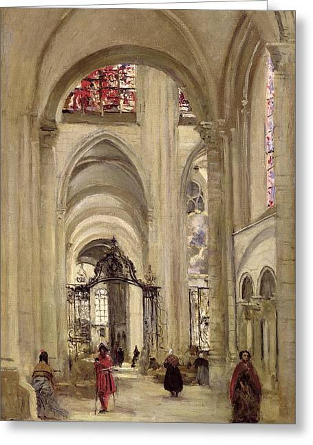Interior Of The Cathedral Of St. Etienne, Sens Greeting Card by Jean Baptiste Camille Corot