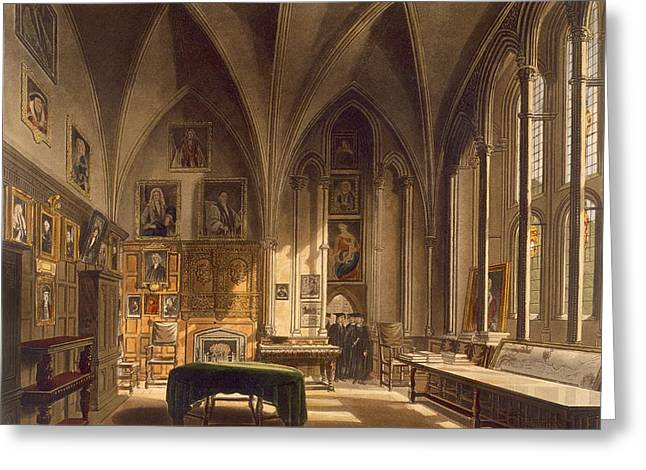 Universities Drawings Greeting Cards - Interior Of The Chapter House Greeting Card by Frederick Mackenzie