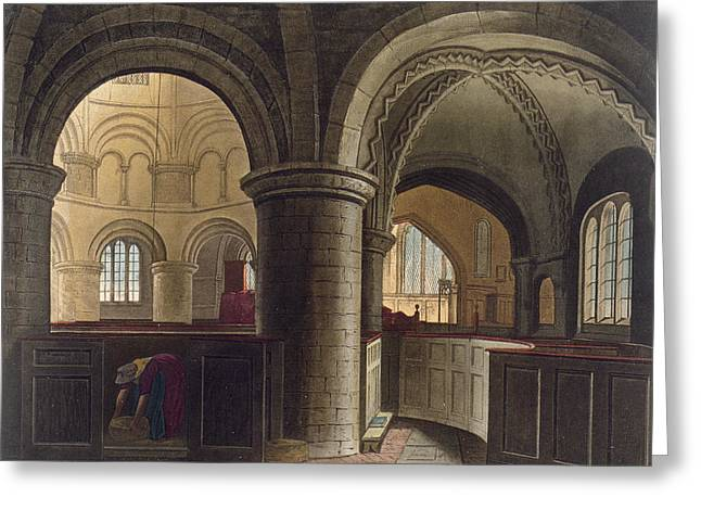 Interior Of The Church Of The Holy Greeting Card by Augustus Charles Pugin
