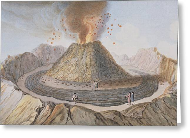 Italian Landscapes Drawings Greeting Cards - Interior Of The Cone Of Vesuvius Before Greeting Card by Pietro Fabris