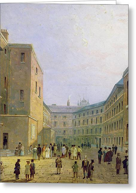 Yards Greeting Cards - Interior Of The Debtors Prison, Whitecross Street, 1830 Oil On Paper Greeting Card by English School