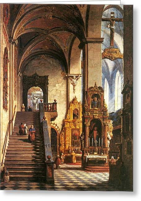 Marcin Greeting Cards - Interior of the Dominican Church in Krakow Greeting Card by Marcin Zaleski