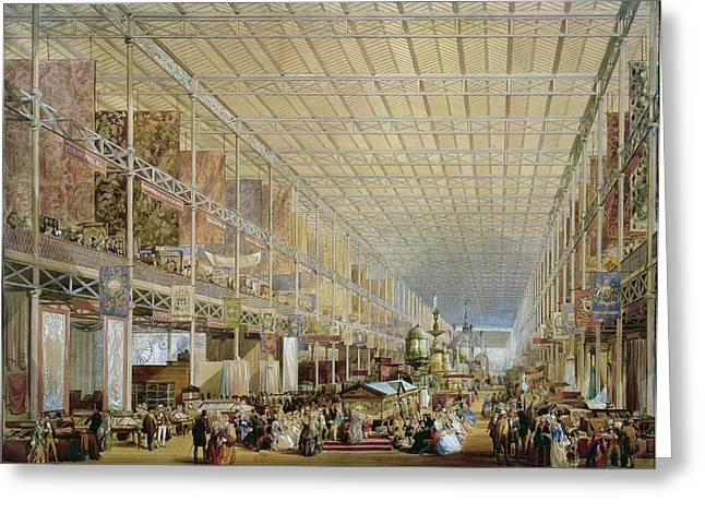 Interior Of The Great Exhibition Of All Greeting Card by Edmund Walker