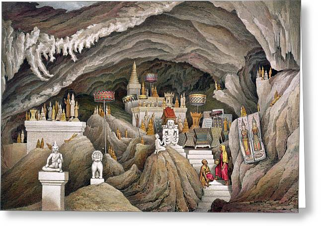 Cave Drawings Greeting Cards - Interior Of The Grotto Of Nam Hou Greeting Card by Louis Delaporte