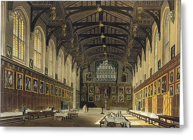 Universities Drawings Greeting Cards - Interior Of The Hall Of Christ Church Greeting Card by Augustus Charles Pugin