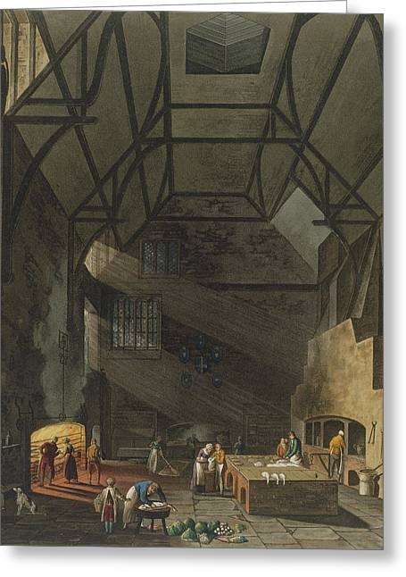 Beam Greeting Cards - Interior Of The Kitchen, Trinity Greeting Card by William Henry Pyne