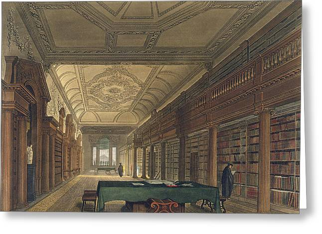 Universities Drawings Greeting Cards - Interior Of The Library Of Christ Greeting Card by Frederick Mackenzie