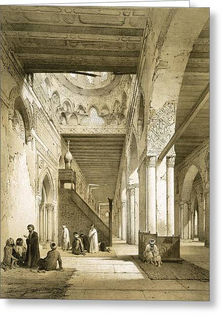 Points Drawings Greeting Cards - Interior Of The Maqsourah In The 9th Greeting Card by Philibert Joseph Girault de Prangey
