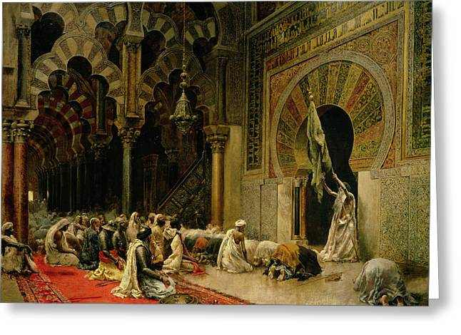 Interior Paintings Greeting Cards - Interior of the Mosque at Cordoba Greeting Card by Edwin Lord Weeks