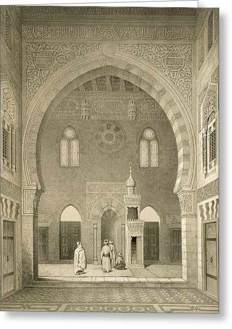 Points Drawings Greeting Cards - Interior Of The Mosque Of Qaitbay, Cairo Greeting Card by French School