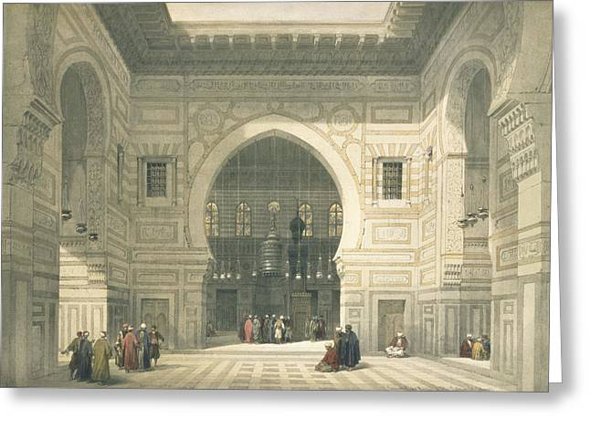 Prayer Drawings Greeting Cards - Interior Of The Mosque Of Sultan Hasan Greeting Card by David Roberts