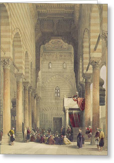 Preacher Greeting Cards - Interior Of The Mosque Of The Metwalys Greeting Card by David Roberts