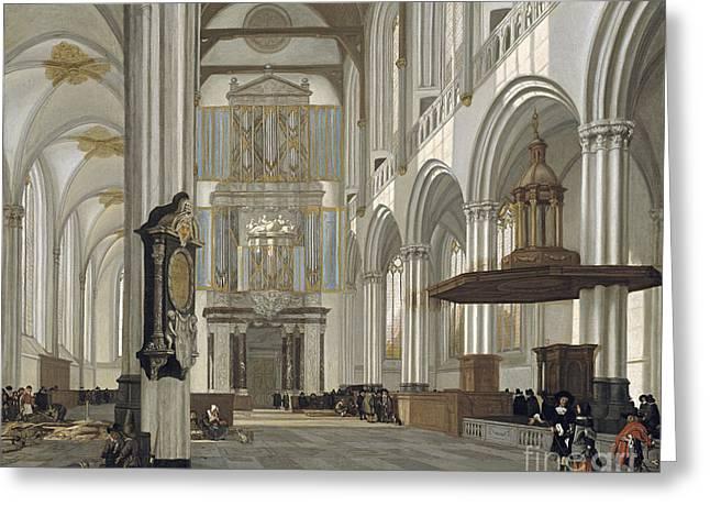 Emanuel Greeting Cards - Interior of the Nieuwe Kerk Amsterdam Greeting Card by Celestial Images