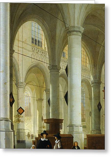 Interior Of The Oude Kerk In Delft Greeting Card by Hendrik Cornelisz van Vliet