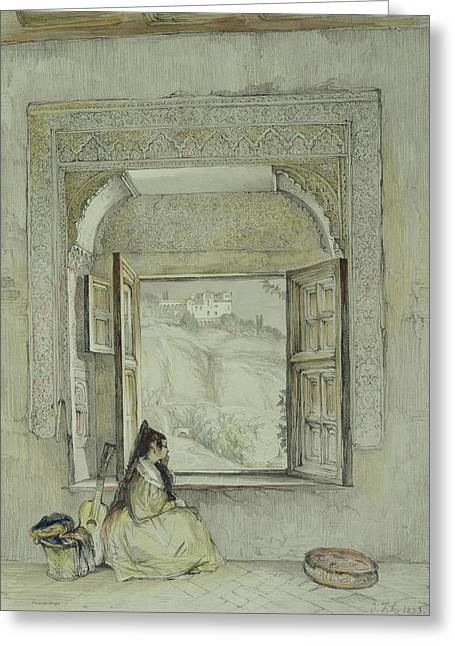 Female Figure Drawings Drawings Greeting Cards - Interior Of The Palace at Madura Greeting Card by Thomas Daniell