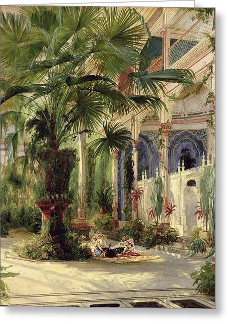 Tropical Bird Art Greeting Cards - Interior of the Palm House at Potsdam Greeting Card by Karl Blechen
