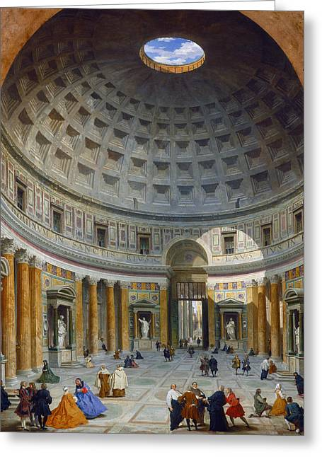 Interior Of The Pantheon Rome Greeting Card by Giovanni Paolo Panini