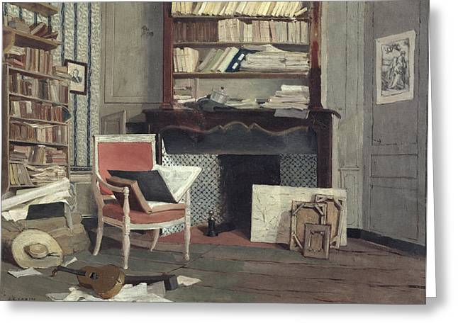 Library Greeting Cards - Interior Of The Study Of Doctor X Oil On Canvas Greeting Card by Jean-Charles Cazin