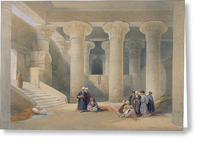Ancient Ruins Greeting Cards - Interior Of The Temple At Esna, Upper Egypt, From Egypt And Nubia, Engraved By Louis Haghe Greeting Card by David Roberts