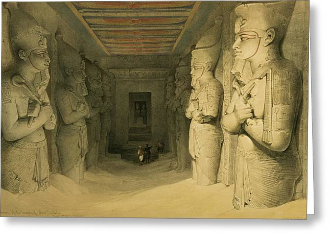 Pharaoh Drawings Greeting Cards - Interior Of The Temple Of Abu Simbel Greeting Card by David Roberts