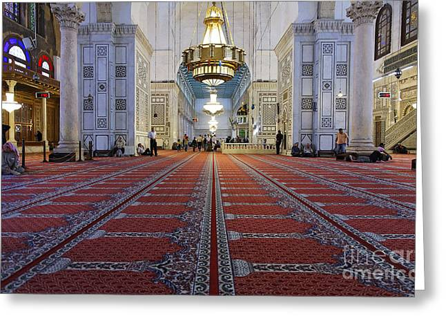Great Mosque Greeting Cards - Interior of the Umayyad Mosque in Damascus Greeting Card by Robert Preston