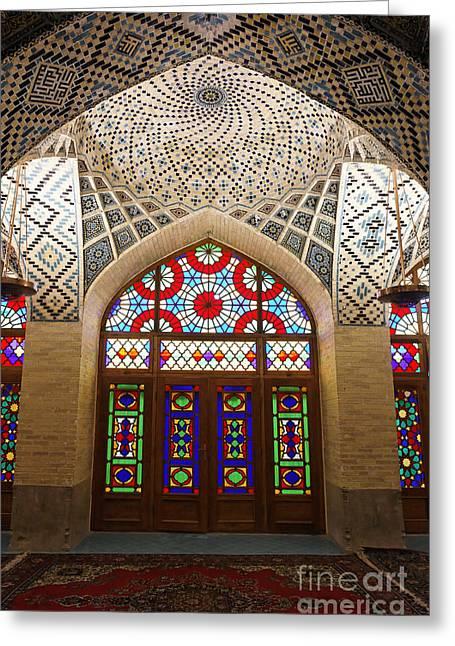 Interior Of The Winter Prayer Hall Of The Nazir Ul Mulk Mosque In Shiraz Iran Greeting Card by Robert Preston