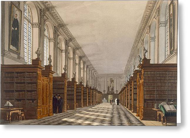 Desk Drawings Greeting Cards - Interior Of Trinity College Library Greeting Card by Augustus Charles Pugin