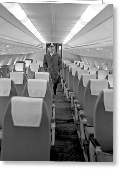 Cabin Interiors Photographs Greeting Cards - Interior of Tu-144 supersonic airliner Greeting Card by Science Photo Library