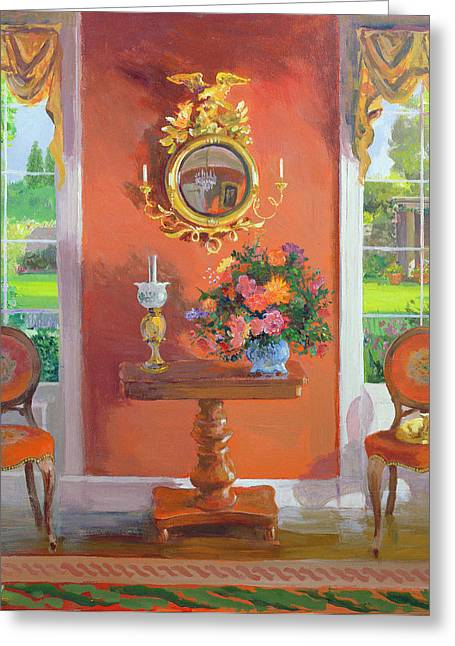 Rococo Greeting Cards - Interior Oil On Board Greeting Card by William Ireland