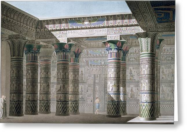 Egypt Greeting Cards - Grand Temple on the Island of Philae Greeting Card by Antoine Phelippeaux