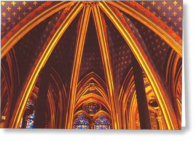 Vaulted Ceilings Greeting Cards - Interior, Sainte Chapelle, Paris, France Greeting Card by Panoramic Images