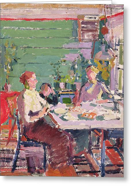 Camden Town Group Greeting Cards - Interior Scene, Possibly In Norway, C.1912 Oil On Canvas Greeting Card by Harold Gilman