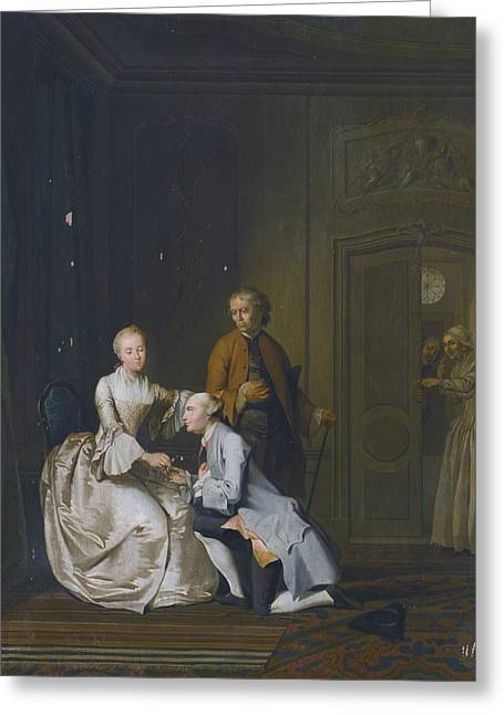 Interior Scene Paintings Greeting Cards - Interior Scene With A Lady And Two Suitors Greeting Card by Celestial Images
