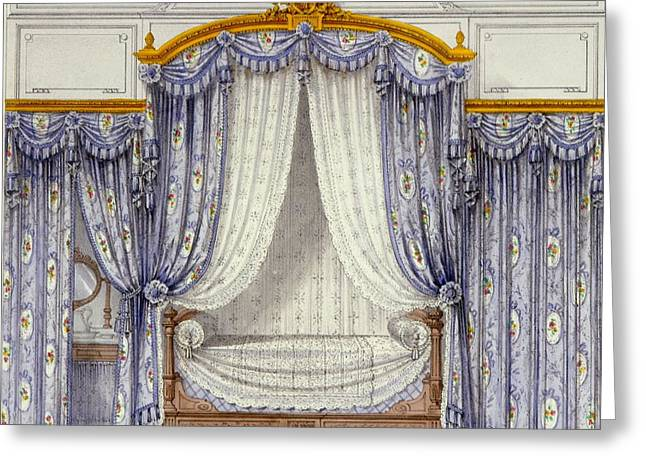 Curtains Drawings Greeting Cards - Interior Showing Furniture Greeting Card by French School