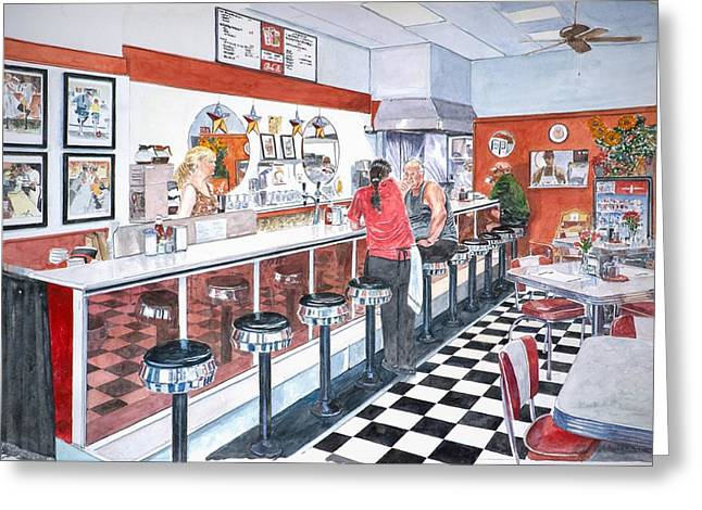 Waitresses Greeting Cards - Interior Soda Fountain Greeting Card by Anthony Butera