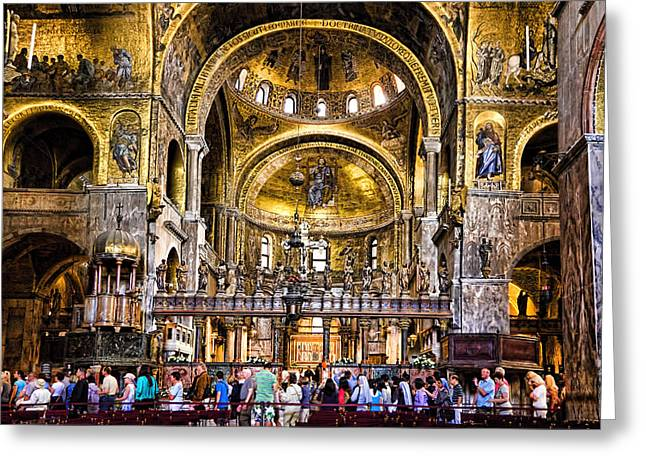The Piazza Greeting Cards - Interior St Marks Basilica Venice Greeting Card by Jon Berghoff