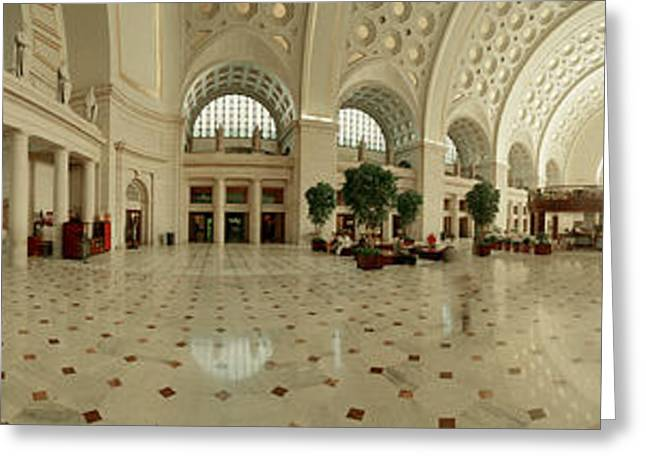 Geometric Image Greeting Cards - Interior Union Station Washington Dc Greeting Card by Panoramic Images